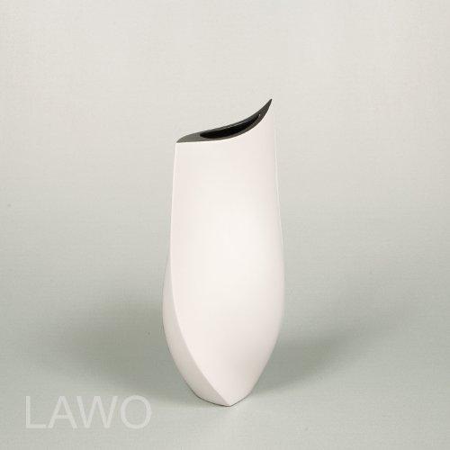 LAWO 109223 Vaso Design Laccato HANA nero-bianco Moderno Art Deco Vaso per Fiori Esclusivo Vaso di Legno