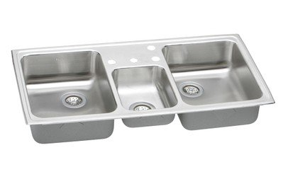 Elkay PSMR43224 Pacemaker Bowl Triple Basin Kitchen Sink