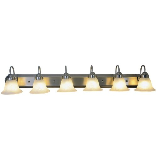 AF Lighting 617573 48-Inch W by 8-Inch H by 9-Inch E Lunar Bay Lighting Collection Six Light Vanity Fixture, Brushed Nickel