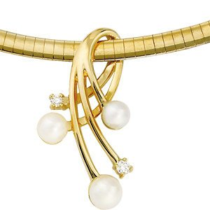 Genuine IceCarats Designer Jewelry Gift 14K Yellow Gold Diamond And Akoya Pearl Pendant
