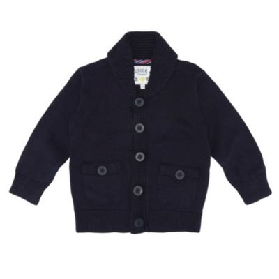 J by Jasper Conran-Boy's navy shawl collar knitted jumper-18-24 months