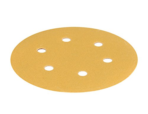 Mestool 66-AP Gold 6-inch 6-hole Assortment Dustless Hook&loop Discs 20 Each of 5 Grits (80 120 220 320 and 400)