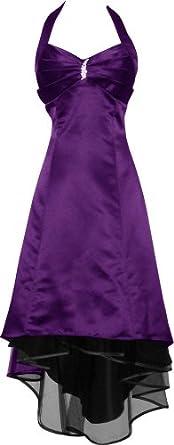 Satin Halter Dress Prom Bridesmaid Holiday Junior Plus Size, XL, Purple