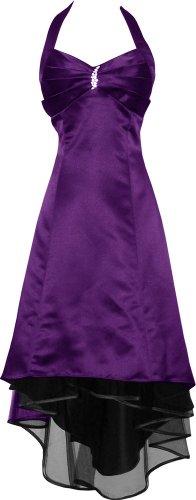 Satin Halter Dress Prom Bridesmaid Holiday Junior Plus Size, Xs, Purple