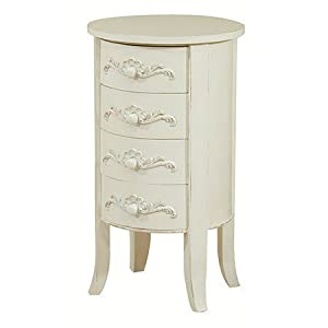FRENCH CREAM SHABBY CHIC 4 DRAWER DRUM / CHEST OF DRAWERS / BEDSIDE / LAMP TABLE: Amazon.co.uk ...