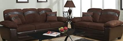 2 pc 2 tone plush chocolate microfiber and espresso faux leather Sofa and Love seat set with under seat storage