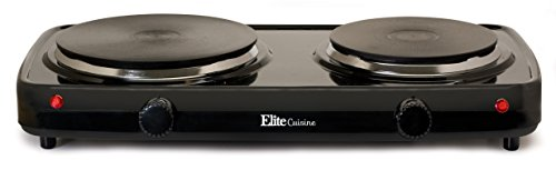 Elite Cuisine EDB-302BF Maxi-Matic Electric Double Buffet Burner with Dual Temperature Control, Black (Flat Hot Plate compare prices)