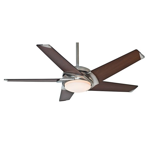 Casablanca Fan Company 59090 Stealth 54-Inch Brushed Nickel Ceiling Fan With Dark Walnut Blades And Cased White Glass Light
