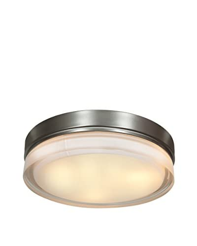 Access Lighting Solid 3-Light Outdoor 11 Flush Mount, Brushed Steel/Opal