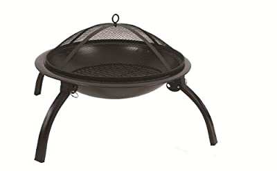 Bentley Round Outdoor Foldable Porcelain Charcoal Fire Pit Black by Bentley