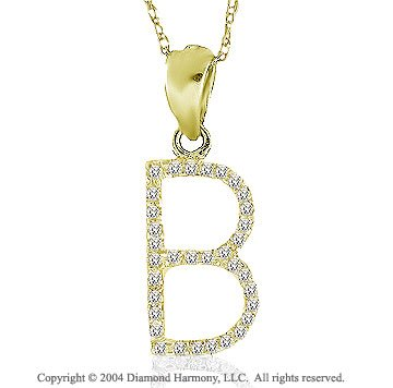 14k YG Large Casual Fun Diamond ^B^ Initial Pendant