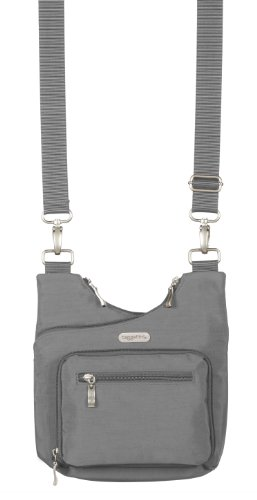 Baggallini Luggage Criss Cross Water Resistant Bag, Pewter, One Size