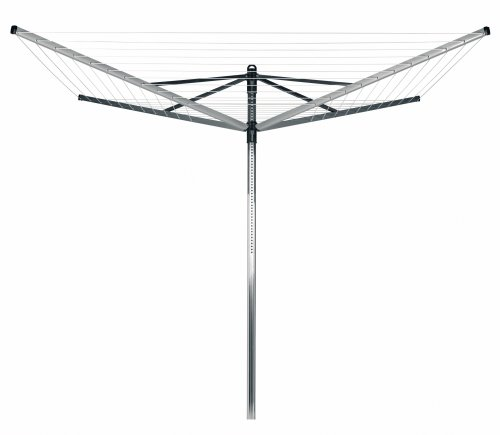 Brabantia Lift-O-Matic Rotary Dryer with 45mm Metal Soil Spear and Cover, 60m, 4 Arms, Metallic Grey