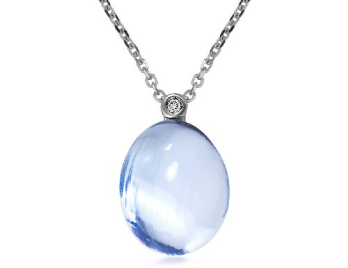 Color Story River Stones Collection 14K White Gold Blue Topaz and Diamond Large Pendant
