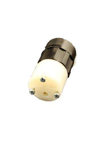 Leviton 5669-C 15 Amp, 250 Volt, Connector, Straight Blade, Grounding, Industrial Grade, Black-White