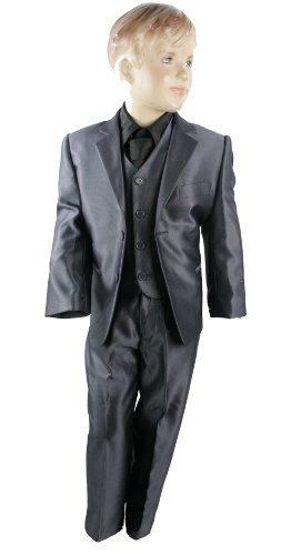 Kids Boys 3 Piece Suit Silver Shiny Grey