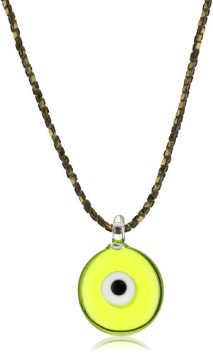 Yummi Glass Murano Glass Chartreuse-Color Evil Eye Pendant Necklace