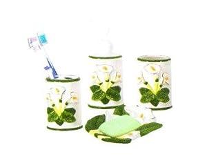 Ceramic Bathroom Accessories on Amazon Com   Lily 3 D Ceramic Bathroom Bath Accessories Set New