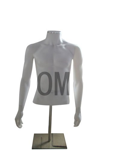 Brand New Male Table Top Absract Headless Torso Mannequin on Adjustable Steel Chrome Base White (TMSA)