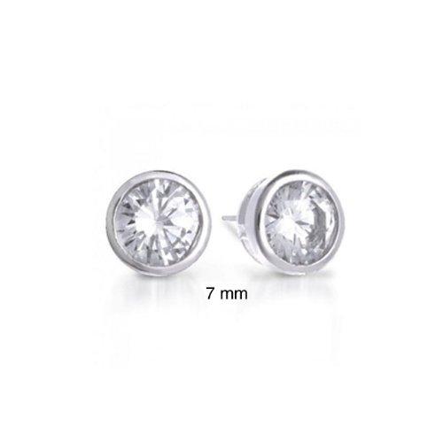 Bling Jewelry Sterling Silver Bezel Set Round Cut CZ Men Unisex Stud Earrings (1ct 7mm)