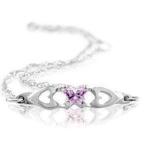 Genuine IceCarats Designer Jewelry Gift 10K White Gold Bfly Cz Birthsto Brc W/Box. June Brc W/Box Bfly Cz Birthsto Brc W/Box In 10K White Gold
