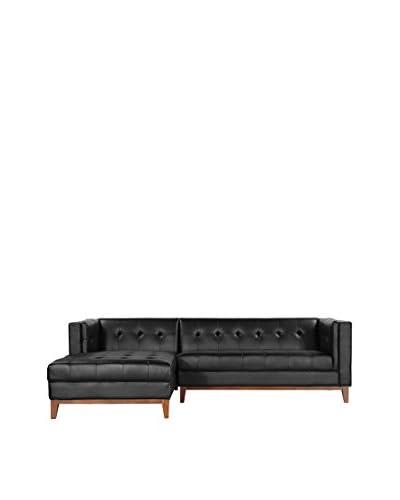 Kardiel Harrison Modern Loft Sofa Chaise Sectional-Left Face, Black