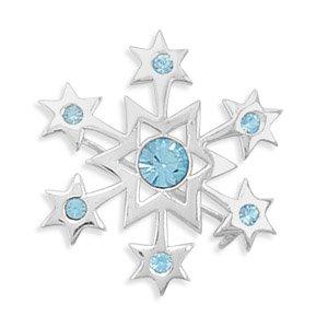 Sterling Silver - Aqua Crystal Snowflake Pin