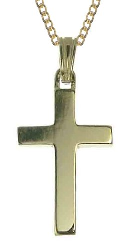 9ct Yellow Gold Ladies' Plain Cross 46cm Curb