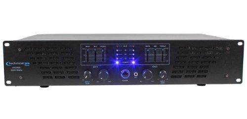 Technical Pro AX AMPLIFIER SERIES AX3000 3000 Watts Peak Power 2U Professional 2 Channel Power Amplifier, Black