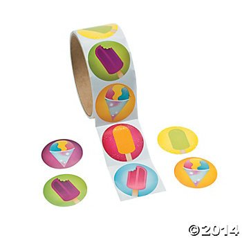 200 ICE CREAM Stickers (2 Rolls of 100 ea) FROZEN Treats - SUMMER Crafts - SCRAPBOOKING - TEACHER Daycare DENTIST