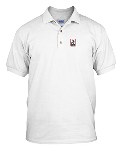 Microscope Embroidery Embroidered Unisex Adult Golf Polo Shirt White M
