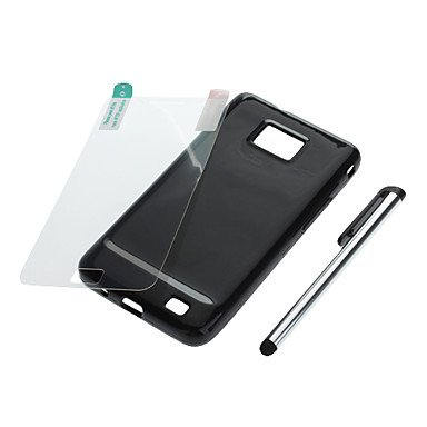 Hp Dfblack Tpu Skin Case,Clear Lcd Cover And Silver Stylus For Samsung Galaxy S2 I9100