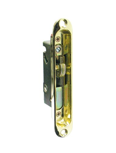 """Fpl #3-45-S Sliding Glass Door Replacement Mortise Lock With Recessed Adapter Plate, 5-1/4"""" Screw Holes, 45 Degree Keyway- Polished Brass Finish front-848261"""