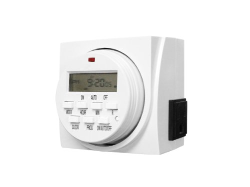 iPower GLTIMEDWEEK 7-Day Dual Outlet Digital Program Timer,120-volt,Can be Configured in Numerous Timing Schedules,Able to Run 8 Separate Schedules per Day,15 amp,1 Minute Intervals Available
