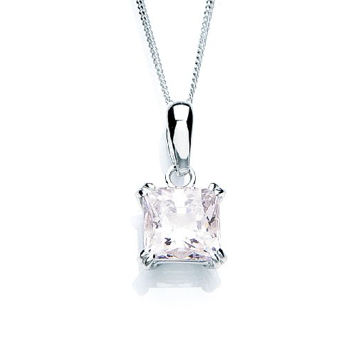 9ct White Gold Swarovski Enlightened C.Z. Square Pendant 46cm Chain
