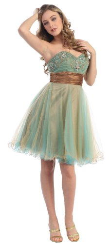 Strapless Cocktail Party Junior Prom Dress #651 (6, Turquoise/Gold)