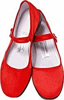 Mary Jane Cotton China Doll Slippers (Red) (Womans 9)