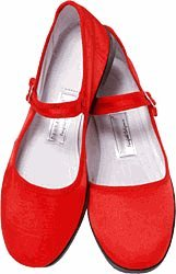 Image of Mary Jane Cotton China Doll Slippers in US Womans Sizes (Red) (B002DVWSGI)