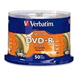 Verbatim 96166 4.7 GB up to 16x LightScribe Gold Recordable Disc DVD-R (50-Disc Spindle)