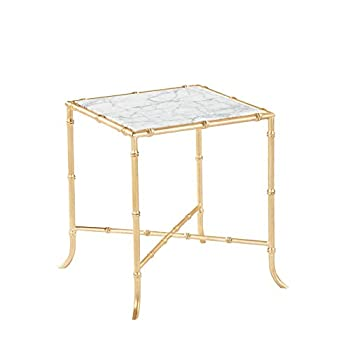 Burnham Home 17026 Tristan Side Table, Gold Leaf & Marble