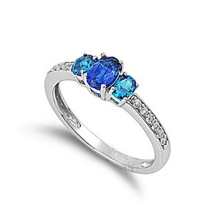 Sterling Silver Blue Sapphire and Cubic Zirconia Promise Ring