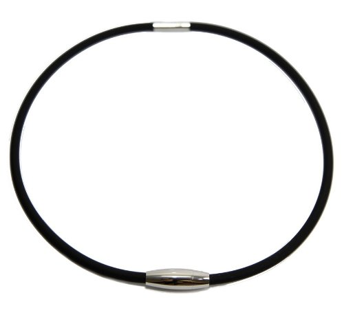Titanium Anionic Anti Fatigue Silicone Black Rubber Necklace with Silver Accents and Silver Magnetic Clasp Negative Ion Necklace Magnet Necklace Boys Black Necklace, Mens Black Waterproof Necklace, Womens or Girls Black Necklace Rope for Pendants Deal of the Day on Clearance Sale