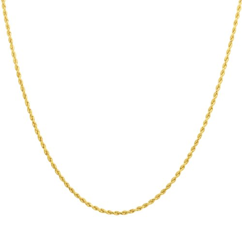 """10k Yellow Gold 2.0mm Hollow Rope Chain Necklace, 24"""""""