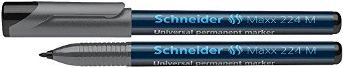 Schneider Marqueur permanent pour rétroprojecteurs 224M, étui de 4 pcs., pointe ogive M, 1 mm de largeur de tracé - noir, rouge, bleue, vert