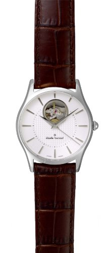 Claude Bernard Men's 85009 3 AIN Classic Automatic Silver Dial Brown Leather Exhibition Watch