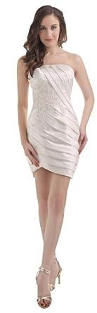 herafa p31512-2 Robes De Cocktail élégant Sans bretelle Sans manche Ruché Perles Délicates mini Gaine Blanc