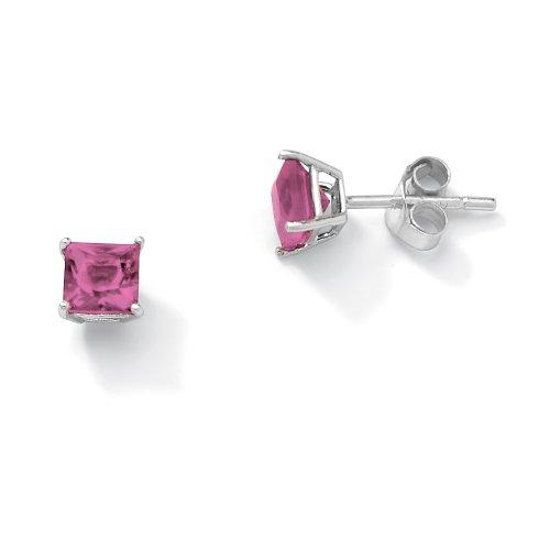 Sterling Silver Princess-Cut Birthstone Stud Pierced Earrings - June- Simulated Alexandrite