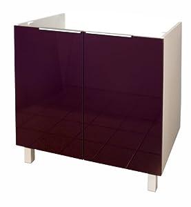 berlenus ce8ba meuble bas de cuisine sous evier aubergine haute brillance 80 cm. Black Bedroom Furniture Sets. Home Design Ideas