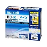 maxell BR25VPLWPMB.10S 録画用ブルーレイディスクBD-R PLAIN STYLE デザインプリントレーベル 4倍速 25GB 10枚入