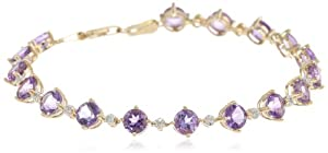 14k Yellow Gold Gemstone and Diamond Tennis Bracelet, 7.25